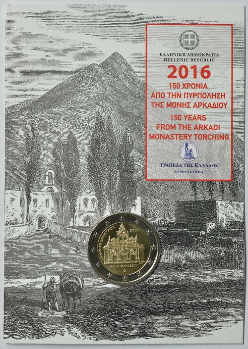 Lieferumfang :Griechenland : 2 Euro 150. Jahrestag der Brandstiftung im Arkadi-Kloster  2016 Stgl.