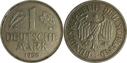 Lieferumfang :Deutschland : 1 DM Kursmünze  1960 Stgl.