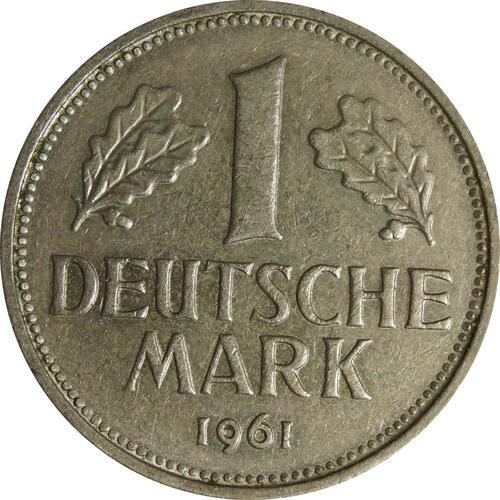 Vorderseite:Deutschland : 1 DM Kursmünze  1961 vz.