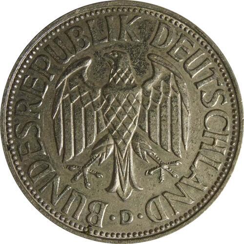 Rückseite:Deutschland : 1 DM Kursmünze  1963 vz.