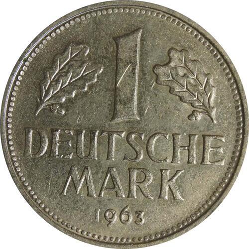Vorderseite:Deutschland : 1 DM Kursmünze  1963 vz/Stgl.
