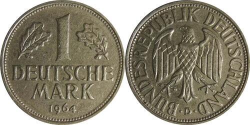 Lieferumfang:Deutschland : 1 DM Kursmünze  1964 vz/Stgl.
