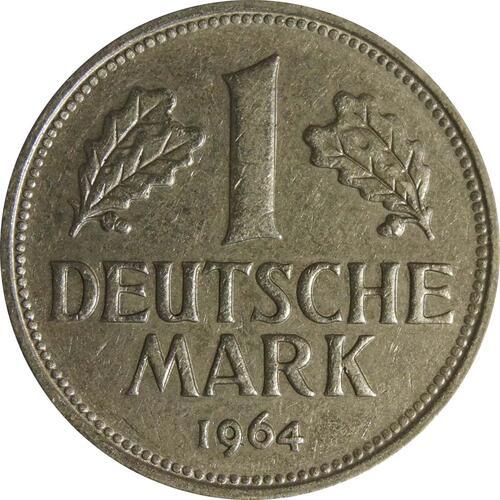 Vorderseite:Deutschland : 1 DM Kursmünze  1964 vz/Stgl.