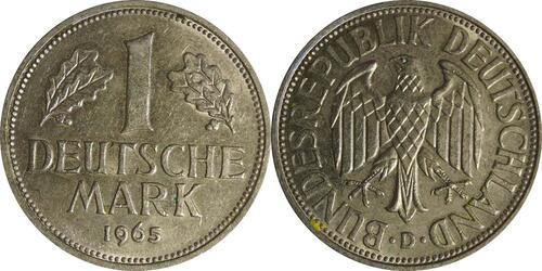 Lieferumfang :Deutschland : 1 DM Kursmünze  1965 vz/Stgl.