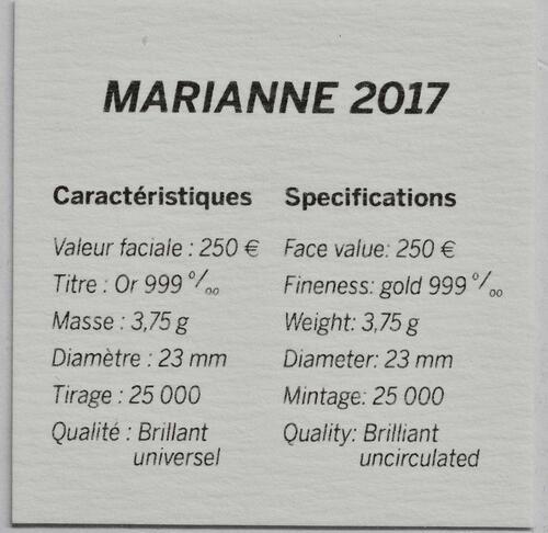 Zertifikat:Frankreich : 250 Euro Marianne  2017 Stgl.