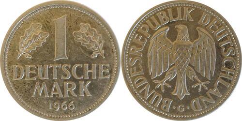 Lieferumfang :Deutschland : 1 DM Kursmünze  1966 Stgl.
