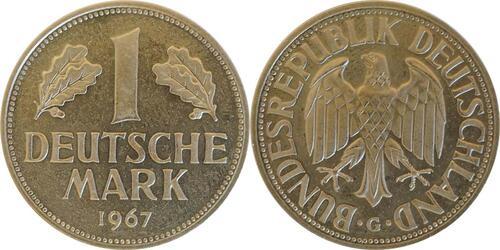 Lieferumfang:Deutschland : 1 DM Kursmünze -fein- 1967 Stgl.