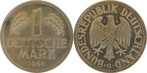 Lieferumfang:Deutschland : 1 DM Kursmünze -fein- 1968 Stgl.