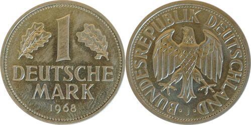 Lieferumfang :Deutschland : 1 DM Kursmünze -seltene Erhaltung- 1968 Stgl.