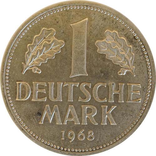 Vorderseite:Deutschland : 1 DM Kursmünze -fein-, -seltene Erhaltung- 1968 Stgl.