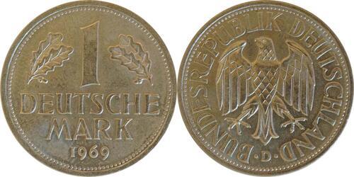 Lieferumfang:Deutschland : 1 DM Kursmünze  1969 Stgl.