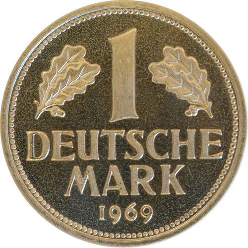 Vorderseite:Deutschland : 1 DM Kursmünze  1969 PP