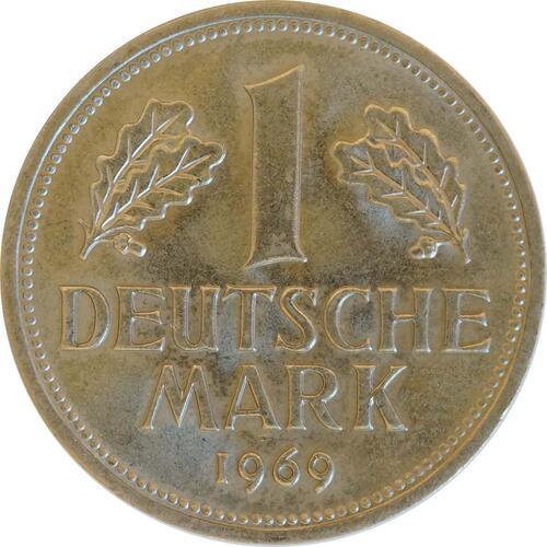 Vorderseite:Deutschland : 1 DM Kursmünze  1969 Stgl.