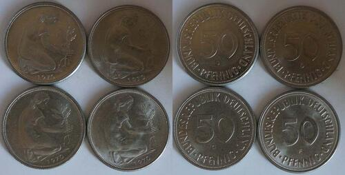 Lieferumfang:Deutschland : 2 DM LOT 4 Münzen à 50 Pfennig Mz D F G J  1970 Stgl.