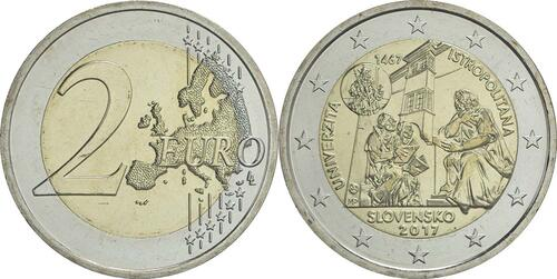 Lieferumfang:Slowakei : 2 Euro Universität Istropolitana - 550. Jahrestag  2017 bfr