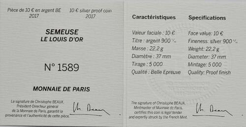 Zertifikat:Frankreich : 10 Euro Louis d'or  2017 PP