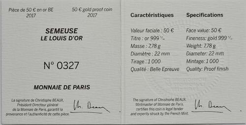 Zertifikat:Frankreich : 50 Euro Louis d'or  2017 PP