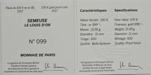 Zertifikat:Frankreich : 100 Euro Louis d'or  2017 PP