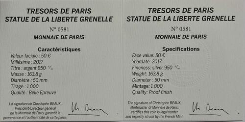 Zertifikat :Frankreich : 50 Euro Freiheitsstatue  2017 PP