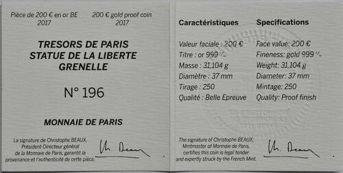 Zertifikat:Frankreich : 200 Euro Freiheitsstatue  2017 PP
