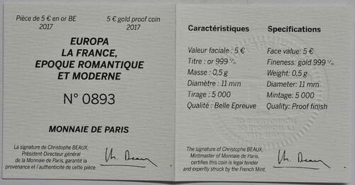 Zertifikat:Frankreich : 5 Euro Zeitalter des Eisens und des Glases  2017 PP