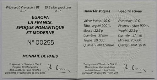Zertifikat:Frankreich : 10 Euro Zeitalter des Eisens und des Glases  2017 PP