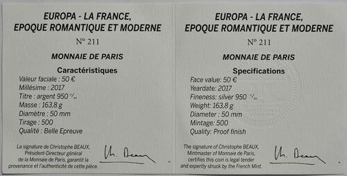 Zertifikat :Frankreich : 50 Euro Zeitalter des Eisens und des Glases  2017 PP