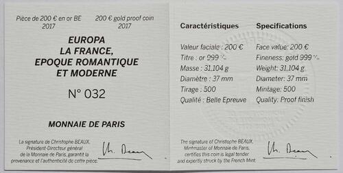 Zertifikat:Frankreich : 200 Euro Zeitalter des Eisens und des Glases  2017 PP