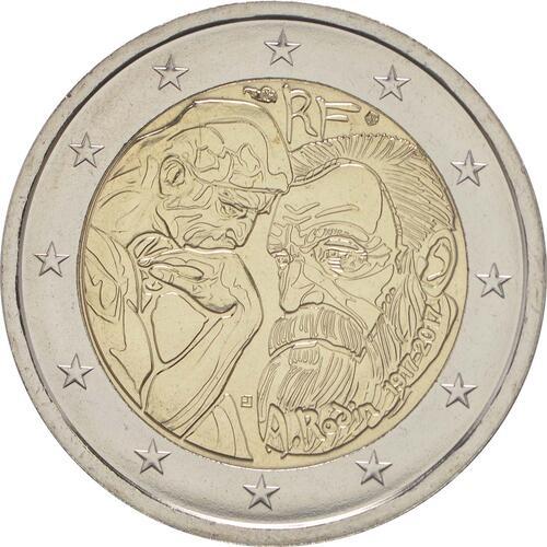 Rückseite :Frankreich : 2 Euro Rodin  2017 bfr