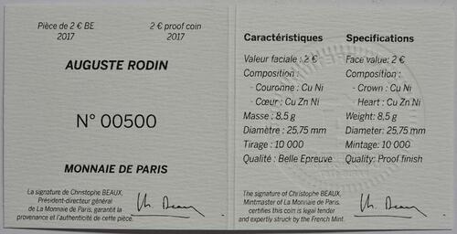 Zertifikat :Frankreich : 2 Euro Rodin  2017 PP