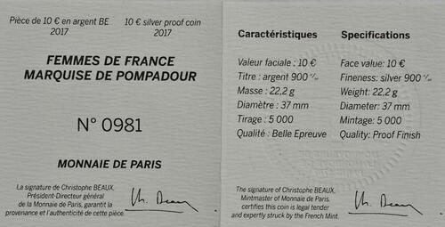 Zertifikat :Frankreich : 10 Euro Marquise de Pompadour  2017 PP