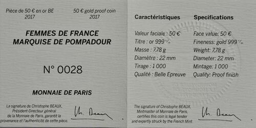 Zertifikat :Frankreich : 50 Euro Marquise de Pompadour  2017 PP