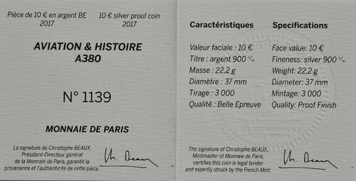 Zertifikat :Frankreich : 10 Euro A380  2017 PP