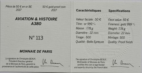 Zertifikat :Frankreich : 50 Euro A380  2017 PP