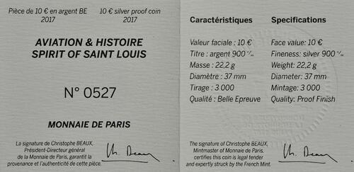 Zertifikat :Frankreich : 10 Euro Spirit of Saint-Louis  2017 PP
