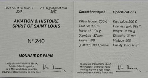 Zertifikat :Frankreich : 200 Euro Spirit of Saint-Louis  2017 PP
