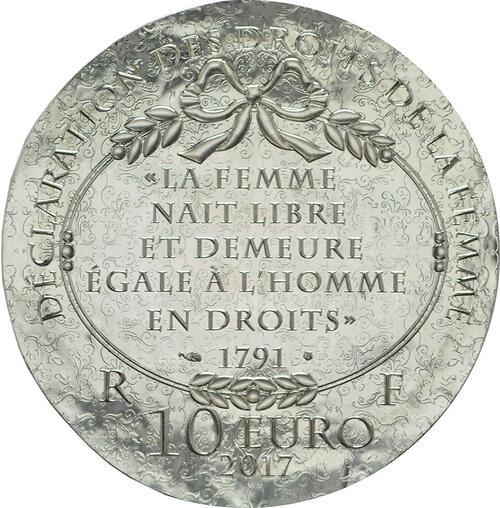 Rückseite :Frankreich : 10 Euro Olympe de Gouges  2017 PP