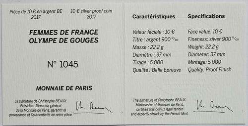 Zertifikat :Frankreich : 10 Euro Olympe de Gouges  2017 PP