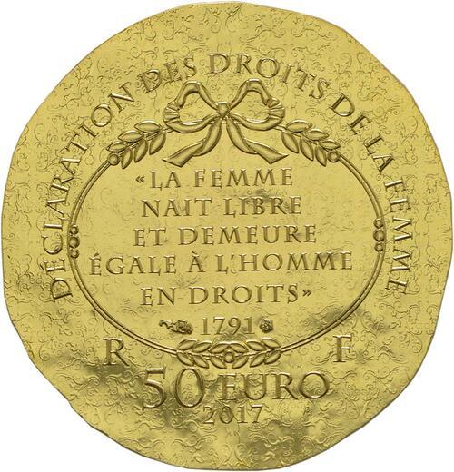 Rückseite :Frankreich : 50 Euro Olympe de Gouges  2017 PP