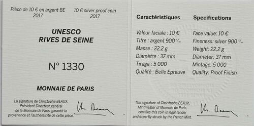 Zertifikat :Frankreich : 10 Euro Ufer der Seine  2017 PP