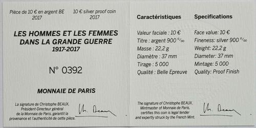 Zertifikat :Frankreich : 10 Euro Erster Weltkrieg  2017 PP
