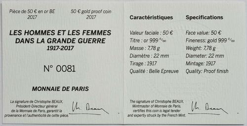 Zertifikat :Frankreich : 50 Euro Erster Weltkrieg  2017 PP