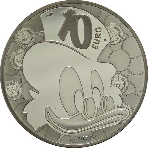 Rückseite:Frankreich : 10 Euro Dagobert Duck / Scrooge McDuck  2017 PP