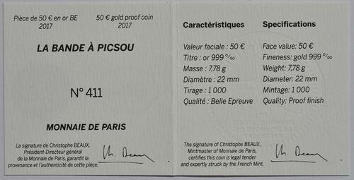Zertifikat :Frankreich : 50 Euro Dagobert Duck / Scrooge McDuck  2017 PP