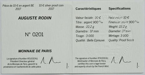 Zertifikat :Frankreich : 10 Euro Auguste Rodin  2017 PP