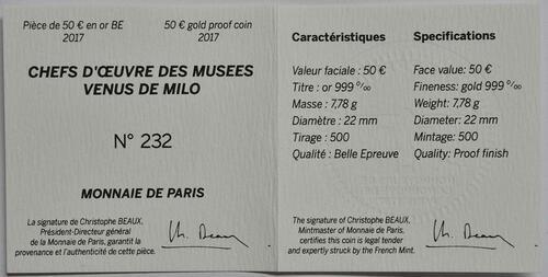 Zertifikat:Frankreich : 50 Euro Venus von Milo  2017 PP