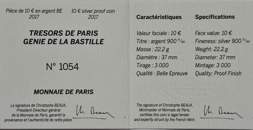 Zertifikat :Frankreich : 10 Euro Génie de la Bastille  2017 PP