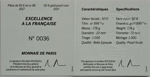 Zertifikat:Frankreich : 50 Euro Guy Savoy  2017 PP