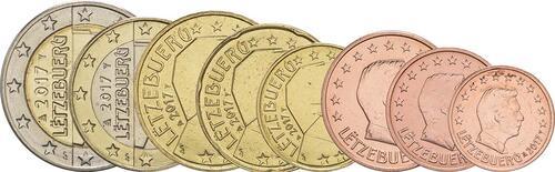 Lieferumfang :Luxemburg : 3,88 Euro 1+2+5+10+20+50 Cent+1 Euro+2 Euro  2017 bfr