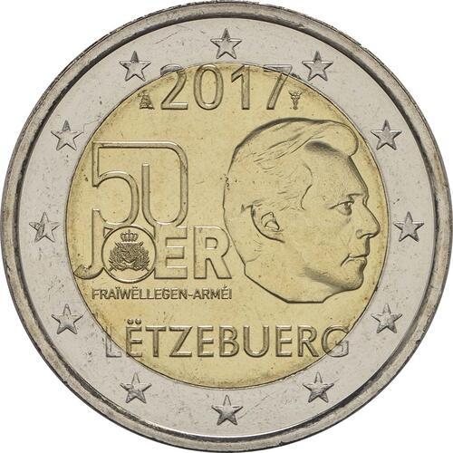 Rückseite:Luxemburg : 2 Euro 50 Jahre Freiwilligenarmee in Luxemburg  2017 bfr